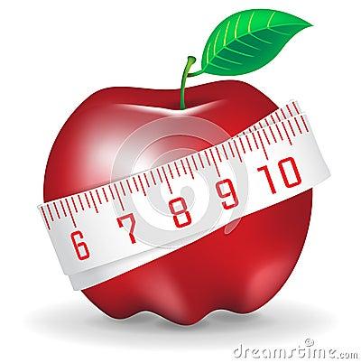 Nastro di misurazione intorno alla mela rossa fresca