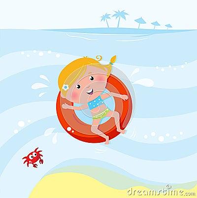 Natação de sorriso bonito da menina no mar