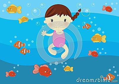Natación de la muchacha en el océano
