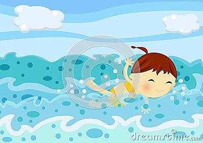 Natación linda de la niña entre las ondas del mar