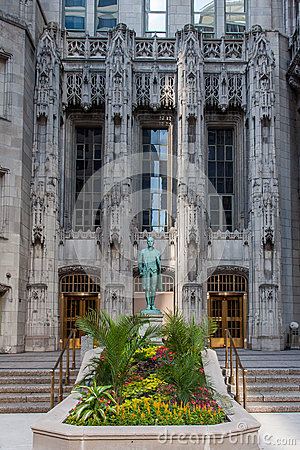 Nathan Hale Statue Tribune Tower Chicago Editorial Image