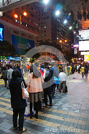 Nathan road by night Editorial Photo
