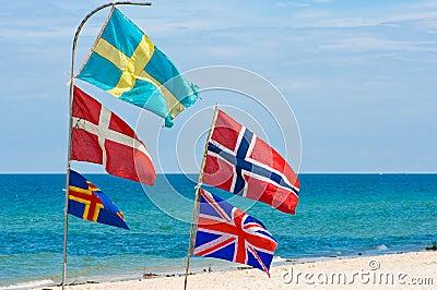 Nation flags,Hua Hin beach Thailand