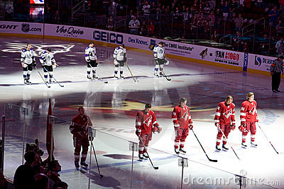 National Anthem at hockey game Editorial Stock Photo
