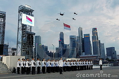 National Anthem during NDP 2009 rehearsal Editorial Image
