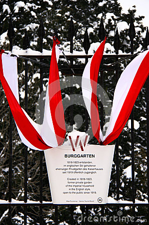 The national Austrian flag decorates imperial gardens Editorial Photo