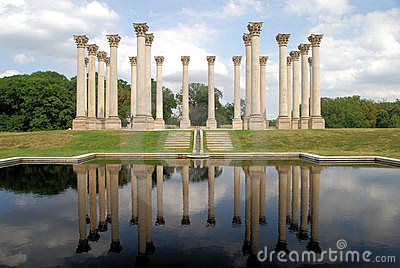 National Capitol Columns reflected Editorial Photo