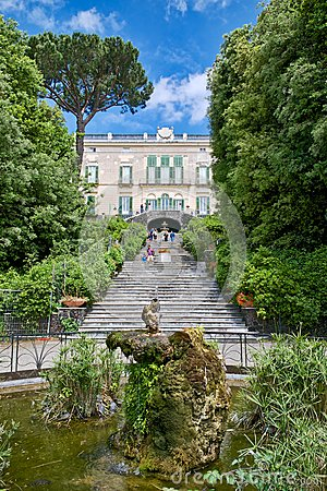 Neoclassic villa garden with fountain Editorial Image
