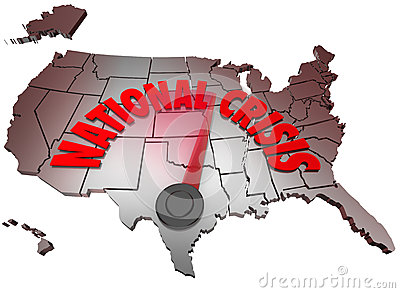National Crisis USA Map United States America