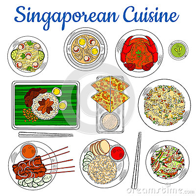 Free National Dishes Of Singaporean Cuisine Sketch Icon Stock Photo - 71640820