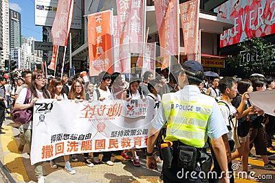 National Education  Raises Furor in Hong Kong Editorial Image