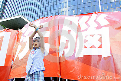 National Education  Raises Furor in Hong Kong Editorial Image