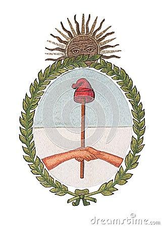 National Emblem of Argentina isolated on White