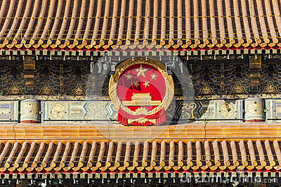 The national emblem of China on Tiananmen tower