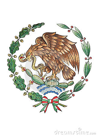 National Emblem of Mexico isolated on White