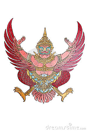National Emblem of Thailand isolated on White