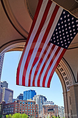 National Flag and Boston Cityscape