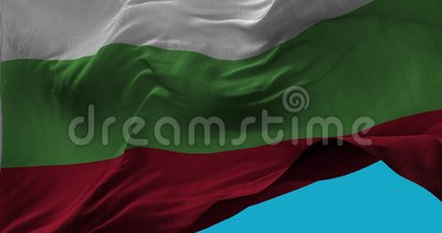 National Flag of Bulgaria waving in the wind slow motion Stock Photo