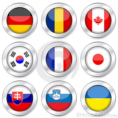 National flag button set 3