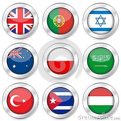 National flag button set 4