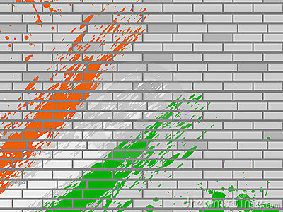 National flag colors theme on wall background.