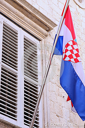 National flag of Croatia on the wall in Dubrovnik