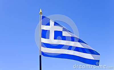 National flag of Greece on flagpole