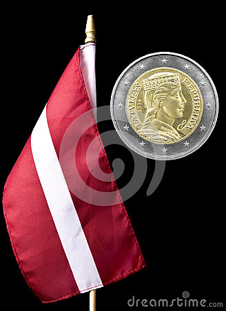 National flag of Latvia and euro coin