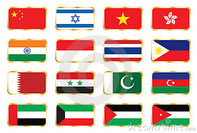 National flags - Asian set.