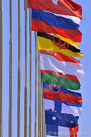 National flags of different country together