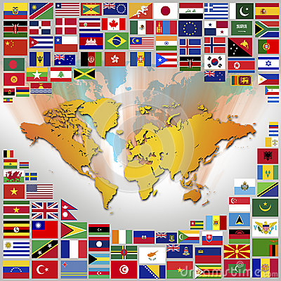 Worldwide National Flags - Map of the World