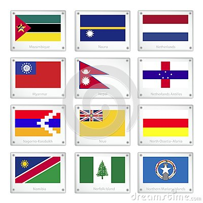 National Flags on Metal Texture Plates