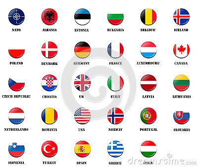 National flags from NATO members