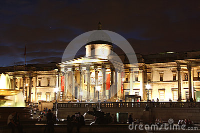 National Gallery in London at night Editorial Stock Photo