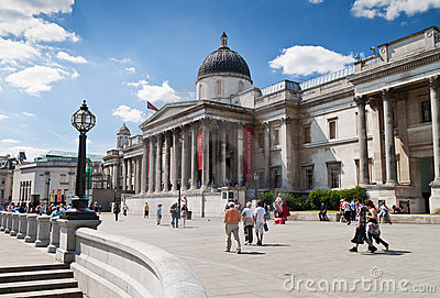 The National Gallery in London s Trafalgar Square Editorial Stock Image