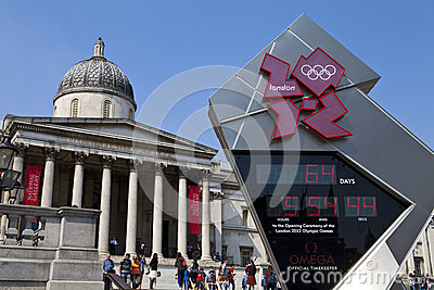 National Gallery and Olympic Countdown Clock Editorial Stock Image