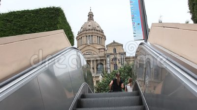 The National Museum (MNAC). SALOU, SPAIN - SEPTEMBER 2012: View of the National Museum (MNAC) from the escalator