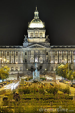 National museum in prague at night