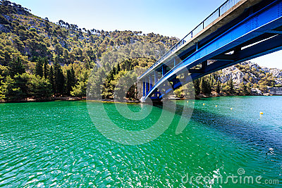 National Park Krka and Blue Bridge over River