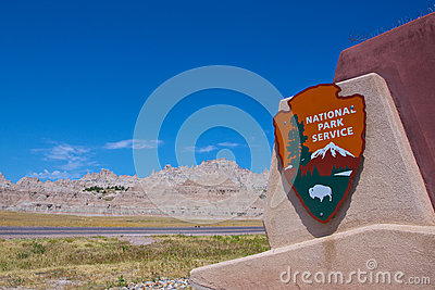 National Park Service Sign in Badlands Editorial Image