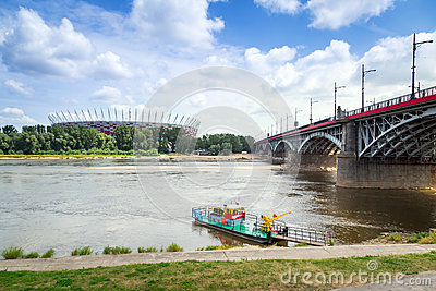 National Stadium in Warsaw at the Vistula river, Poland Editorial Stock Photo