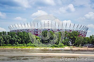 National Stadium in Warsaw at the Vistula river, Poland Editorial Stock Image