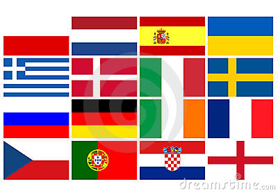 National team flags European football championship