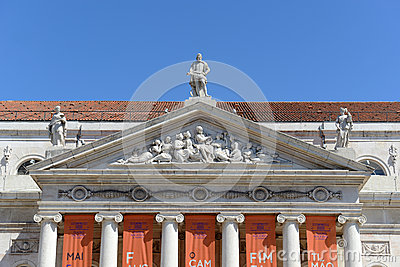 National Theatre Dona Maria II, Lisbon, Portugal Editorial Image