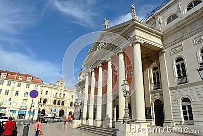 National Theatre Dona Maria II, Lisbon, Portugal Editorial Photo