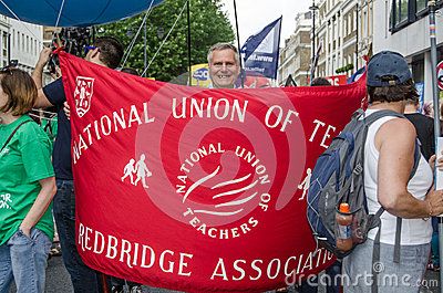 National Union of Teachers Banner Editorial Stock Image