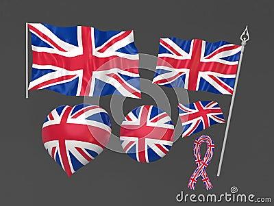 Nationales symbolisches Markierungsfahne der Königreich-, London