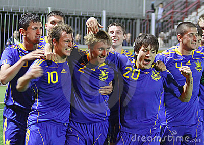 Nationalmannschaft Ukraine-(Under-21) Redaktionelles Bild