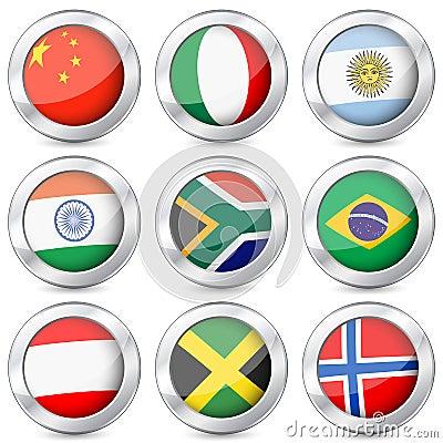 Nationell flagga för metallknapp