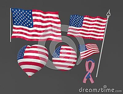 Nationella tillstånd symboliska eniga washington för flagga